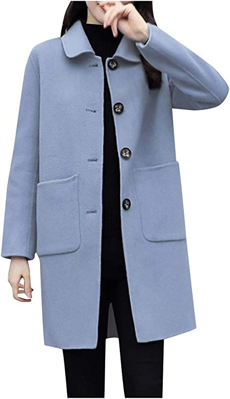 Grey Wool Coat  Women Wool Jacket with Pockets   Long Sleeve Trench Coat  Jacket for Women