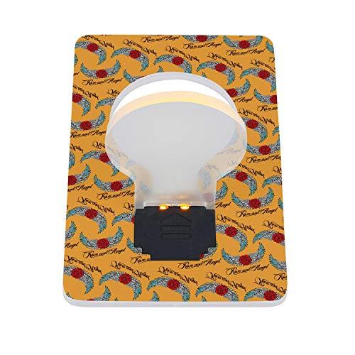 (RFVPKAQZ Mini Card LED Night Light Camping Card Pocket Light Bulb Energy Saving Rose and Angel Wings Logo Yellow LED Card Light 2 Packs)