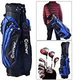 K&A Company 14 Way Divider Lightweight Golf Carry Bag with Carry Belt New Black Blue 1 Rain cover