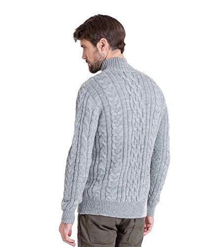 WoolOvers Pullover mit Aran-Zopfmuster und Reiverschluss am Ausschnitt für Herren Flannel Grey, M