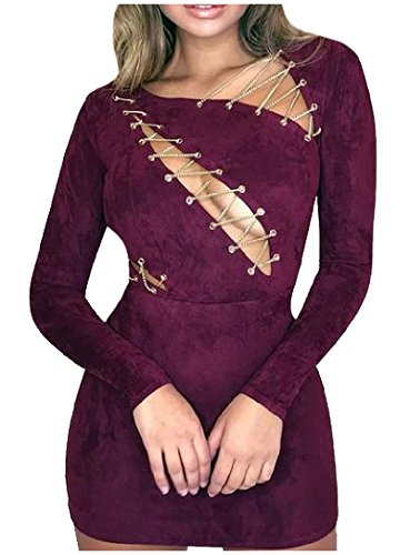 Coolred-femmes Évider Velours De Cerf Chic Et Sexy Solide Mini Robe Moulante Violette