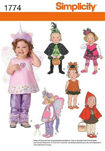 Simplicity 1774 Toddler's Costumes Sewing Pattern Size (Spider Costume Pattern)