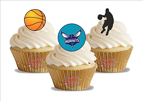 12 x Basketball Charlotte Hornets Mix - Fun Novelty Birthday PREMIUM STAND UP Edible Wafer Card Cake Toppers Decoration