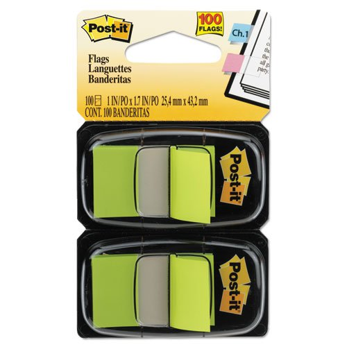 Post-it Flags Products - Post-it Flags - Standard Tape Flags in Dispenser, Bright Green, 100 Flags/Dispenser - Sold As 1 Pack - Get attention and get results! - Mark and color-code. - All flags are removable and repositionable. - With the convenient pop-up dispenser, you can quickly retrieve and place flags while working on documents. -