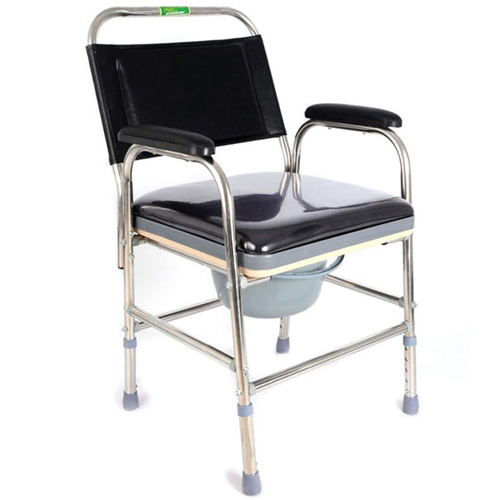 G-LXYZBQSHYP Stainless Steel Multifunctional Commode Chair Elderly Mobile Toilet Bath Chair Toilet Seat with Cover Home Auxiliary Equipment by G-LXYZBQSHYP