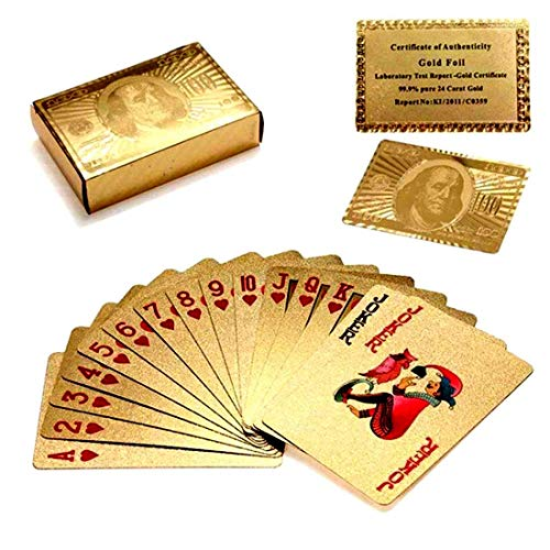 Luxurious 24K Gold Plated Playing Cards - Make Your Magic Tricks More Fun & Creative for Family & Friends (24k Gold Plated Playing Cards With Case)