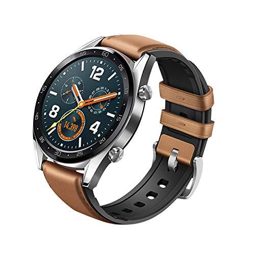 Baiomawzh Unisex Correas Compatible con Reloj con Repuestos de Silicona+Cuero Genuino Compatible con Huawei Watch GT, Correa de 22mm con Hebilla, ...