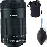 Canon 55-250mm IS STM Lens + Deluxe Lens Blower Brush + Lens Carrying Pouch