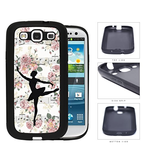 Ballerina Vector on Floral Musical Notes Background Samsung Galaxy S3 I9300 Rubber Silicone TPU Cell Phone Case