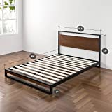 Zinus Ironline Metal and Wood Platform Bed with Headboard / Box Spring Optional / Wood Slat Support, Queen Variant Image