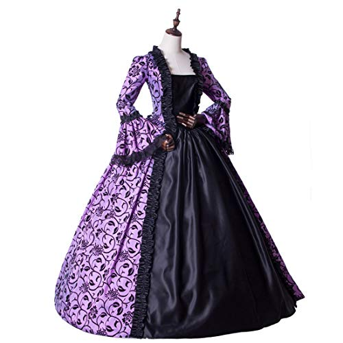 Medieval Renaissance Fairytale Vampire Brocade Dress Masquerade Gown Theater Cosplay Halloween Costume (XL, Purple and -