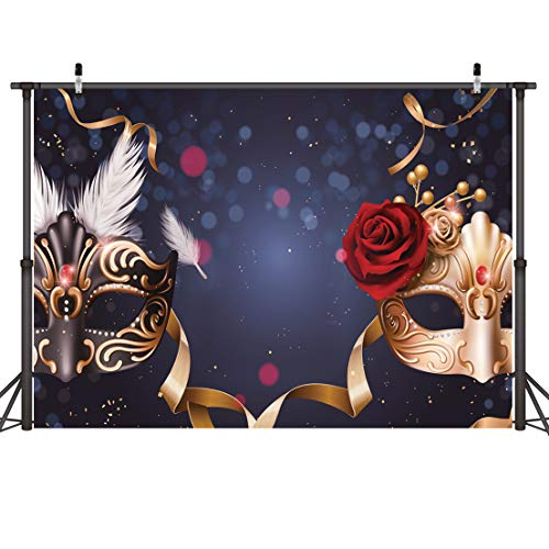 Dudaacvt 8x6FT Birthday Party Masquerade Mysterious Photography Backdrop Photo Background Studio Prop Wedding, Party, Carnival Party Backdrop D072 0806 -