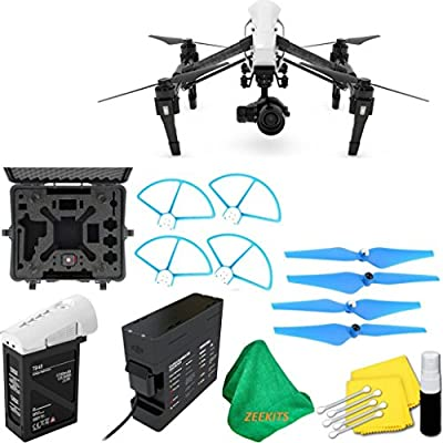 DJI Inspire 1 PRO Drone with Single Remote Controller & Lens + Deluxe Hard Case + 4pcs Blue Propellers + Blue Propeller Guards + ZEEKITS Microfiber Cloth + Lens Cleaning Kit for DJI
