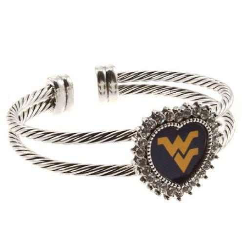 Tamis Place NCAA West Virginia University ~ Bracelet ~ Textured Heart w/Rhinestones ~ Cable Cuff Bangle -