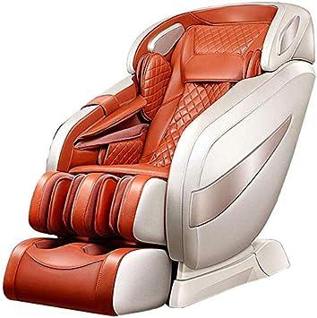 SISHUINIANHUA Sillón de Masaje sillas eléctricas Profesionales Relax Aire masajeador con Shiatsu, balanceo, vibración, Airbag, compresa Caliente/Gravedad Cero/Música Bluetooth,Naranja
