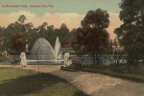 Jacksonville, FL - View of Riverside Park and Fountain (12x18 Fine Art Print, Home Wall Decor Artwork Poster) (Decor Fl Home Jacksonville)