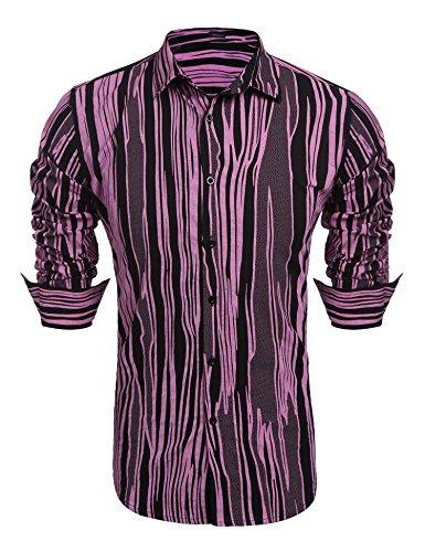 Flowery Dress Halloween Costume (Jinidu Men's Fashion Print Casual Long Sleeve Button Down Shirt Slim Fit Dress Shirt)