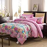 Korean-style Pure cotton Plants and flowers Duvet Cover Set 4 Pieces(1Duvet cover 1Flat sheets 2Pillow)-O King promo code 2017
