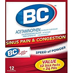 BC Sinus Congestion & Pain Fast Cold & Flu Relief Powder Sticks, 3 Count