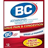 BC Sinus Congestion & Pain Fast Cold & Flu Relief Powder Sticks, Pack of 3