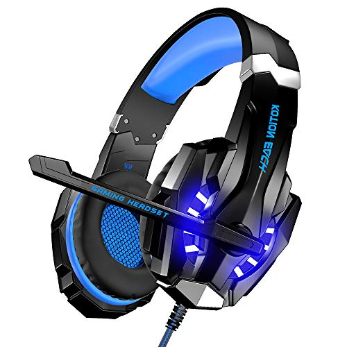 BENGOO [Updated] G9000 Stereo Gaming Headset for PS4, PC, Xbox One Controller, Noise Cancelling Over Ear Headphones with Mic, LED Light, Bass Surround, Soft Memory Earmuffs for Mac Nintendo Switch