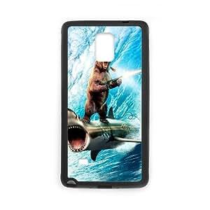 Note4 Case Funny Bruins Bear Riding on Shark Shooting Gun SamSung Galaxy Note4 (Laser Technology)