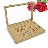 Wuligirl Glass Lid Linen Storage Jewelry Boxes Showcase Jewelry Case Display Organizer With Lock