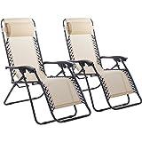 New Zero Gravity Chairs Case Of 2 Lounge Patio Chairs Outdoor Yard Beach O62 (Tan)