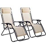 New Zero Gravity Chairs Case Of 2 Lounge Patio Chairs Outdoor Yard Beach O62 - Tan
