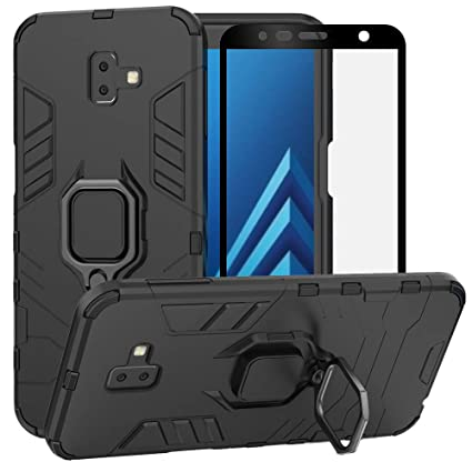 BestAlice for Samsung Galaxy J6 Plus/J6 Prime 2018/J6+ Case, Hybrid Heavy Duty Protection Shockproof Defender Kickstand Armor Case Cover Tempered ...
