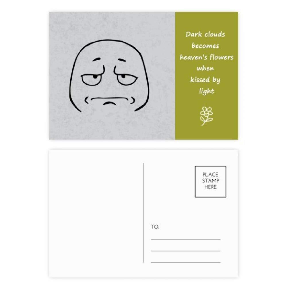 Wear Sad Face Black Emoji Pattern Poetry Postcard Set Thanks Card Mailing Side 20pcs