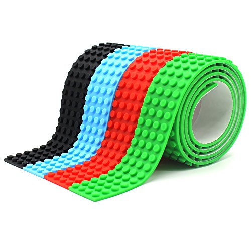 Do It Yourself Birthday Invitations (LattoGe Block Tape 2 Rolls for Kids Lego Figures Table Toys Self-Adhesive Baseplate Plates Walls Desks Christmas Birthday Supplies Room Art Decoration (Wide Size(Red+Green+Light Blue+Black)))