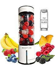 Portable Blender for smoothies Stainless Steel Body 450ml Heat-resistant Food grade Glass bottle Mini USB rechargeable healthy smoothie Handheld Shakes Cup smoothy juicer Cordless melangeur maker Fruit Juice Mixer 16500rmp/min high speed motor single serve jar electric Personal Sport travel (white)