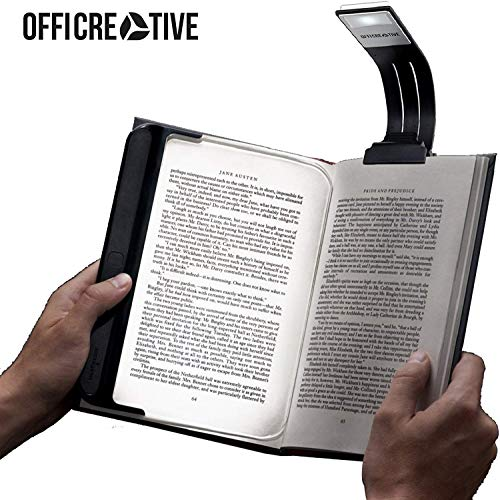 OffiCreative Flexible Kindle Book Reading LED Light | 205 x 23 x 47 mm Black Colored Portable Night Lamp | A Unique Gift for Readers.