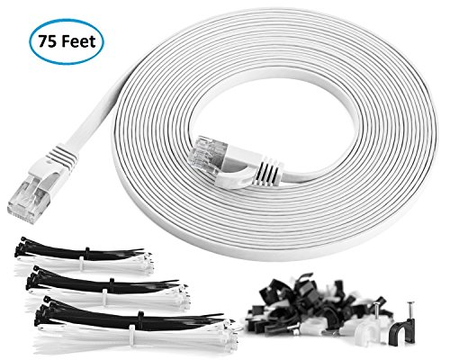 Maximm Cat6 Flat Ethernet Cable - 75 Feet - White - High Speed Internet Lan Cable with Snagless RJ45 Connectors For Fast Computer Networking + Cable Clips and Ties