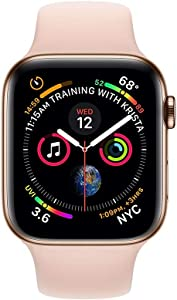 Apple Watch Series 4 (GPS + Cellular, 44MM) - Gold Stainless Steel Case with Pink Sand Sport Band (Renewed)