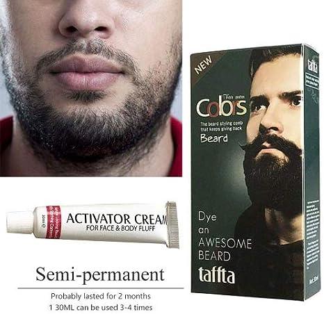 Kobwa schurrbart & Barba Color Crema para hombres – 5 minutos rápida Color Natural Black Beard – Películas precortadas Crema con 1 par de guantes ...