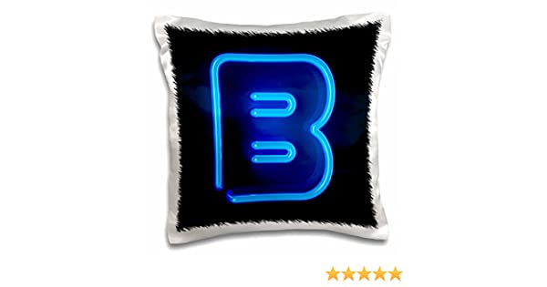 16 x 16 3dRose pc/_155125/_1 Monogram Letter E Abstract Neon Blue Lit Shining Illuminated Pillow Case