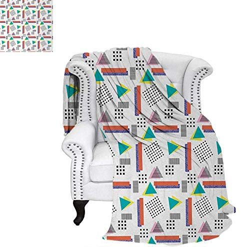 Summer Quilt Comforter Memphis Style Geometrical Illustration with Dots Barcode Triangle Shapes Retro Art Digital Printing Blanket 62