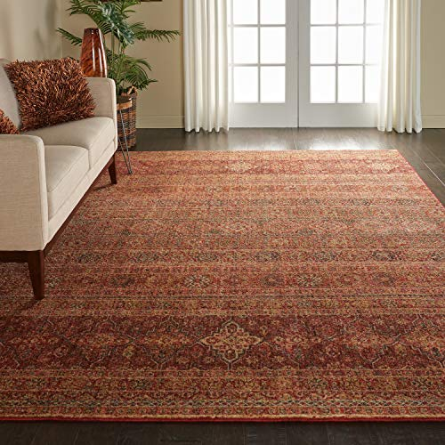(Nourison VGT03 Vintage Tradition Red Moroccan Area Rug 9' x 12', 9'X12' Brick)