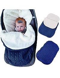 LVBABY Baby Swaddle Blanket Stroller Wrap Fleece Blanket Plus Velvet Baby Sleeping Bag Winter Footmuff Warmer For Stroller For 0-12 Month New Update Design (Color : Blue)