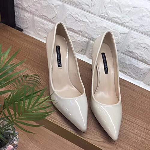 Cómoda Manera Boca Estilo zapatos alto Profesionales Color Altos Estilete White La Tacones Tacones Altos Sólido Diaria Acentuados de tacón Femenina Yukun De con wHxx0