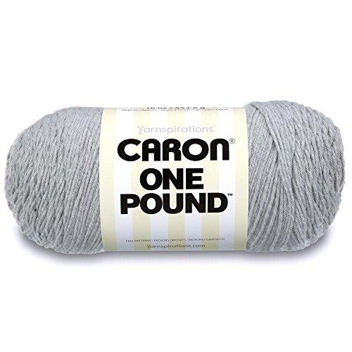 Caron  One Pound Solids Yarn - (4) Medium Gauge 100% Acrylic - 16 oz -  Grey Mix- For Crochet, Knitting & - Louet Yarn