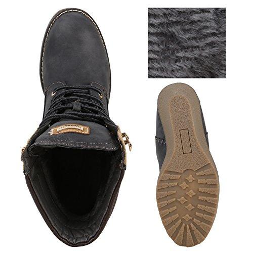 Stiefelparadies Damen Keilstiefeletten Leicht Gefütterte Stiefeletten Wildleder-Optik Boots Keilabsatz Schuhe Metallic Wedges Profilsohle Flandell Grau