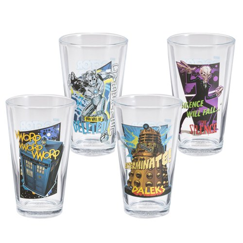 Doctor Who 4 pc 16 oz Glass Set
