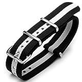 20mm G10 Nato James Bond Nylon Watch Strap Polished Buckle - Black & White