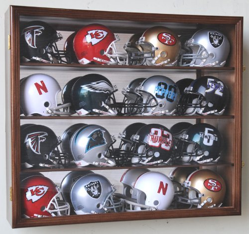 Riddell Mini Helmet Display Case Cabinet Wall Rack w/UV Protection & Mirror Back - Back Walnut