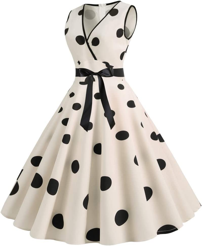 HZD Women Vintage Dress V Neck Sleeveless Polka Dot Summer Retro Dress Crystal Cream
