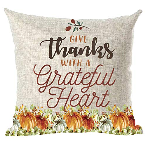 Give Thanks Word Art - ramirar Watercolor Blue Orange Pumpkins Word Art Quote Give Thanks with A Grateful Heart Decorative Throw Pillow Cover Case Cushion Home Living Room Bed Sofa Car Cotton Linen Square 18 x 18 Inches