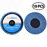 3 Inch 40 Grit Roloc Roll Lock Flap Disc by LotFancy, Pack of 10, Type 27, High Density Zirconia Alumina Grinding Sanding Flat Wheels